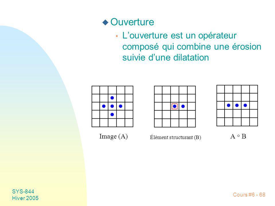 SYS-844 Hiver 2005 Cours #6 - 68 u Ouverture Louverture est un opérateur composé qui combine une érosion suivie dune dilatation Image (A) Élément stru