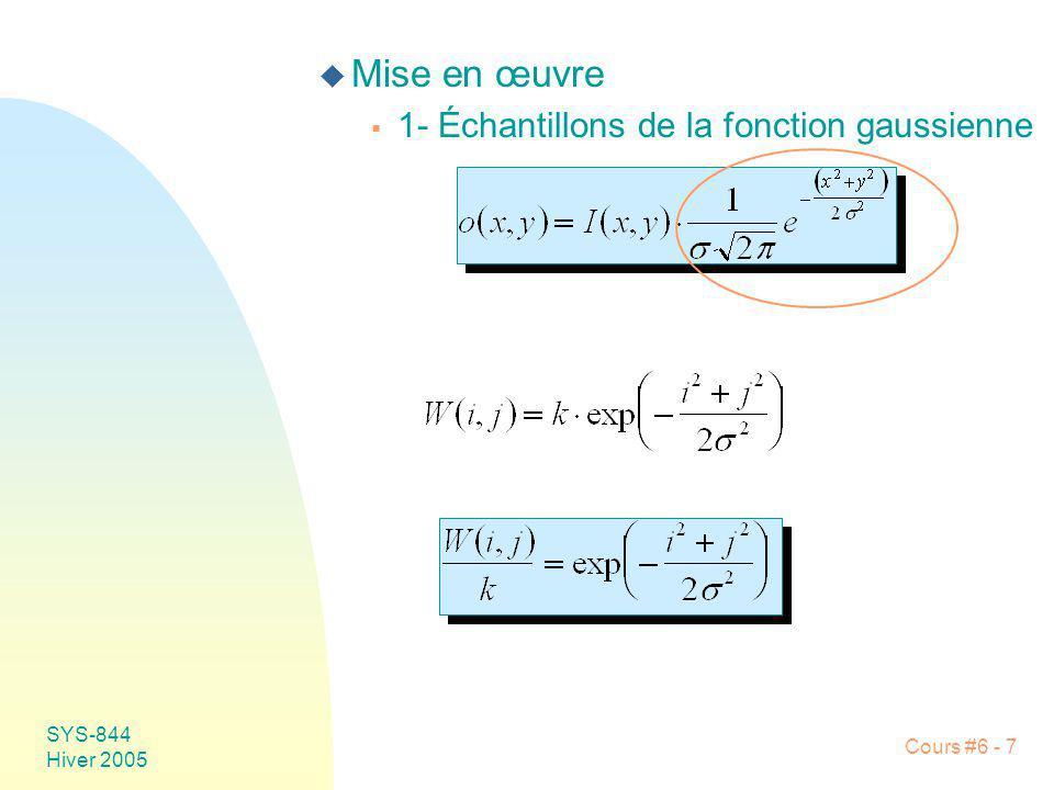 SYS-844 Hiver 2005 Cours #6 - 7 u Mise en œuvre 1- Échantillons de la fonction gaussienne
