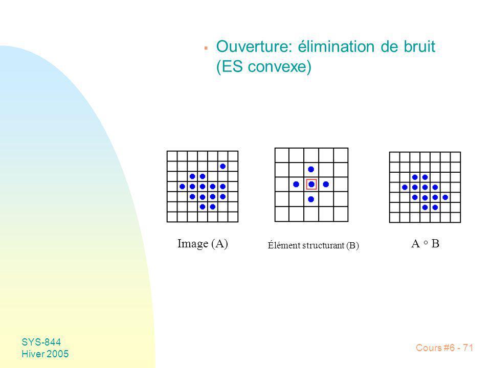 SYS-844 Hiver 2005 Cours #6 - 71 Ouverture: élimination de bruit (ES convexe) Image (A) Élément structurant (B) A B