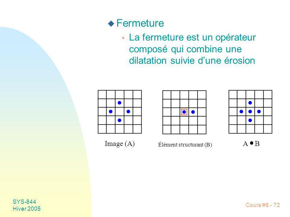 SYS-844 Hiver 2005 Cours #6 - 72 u Fermeture La fermeture est un opérateur composé qui combine une dilatation suivie dune érosion Image (A) Élément st