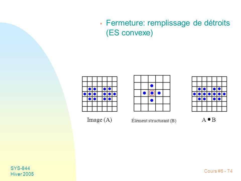 SYS-844 Hiver 2005 Cours #6 - 74 Fermeture: remplissage de détroits (ES convexe) Image (A) Élément structurant (B) A B