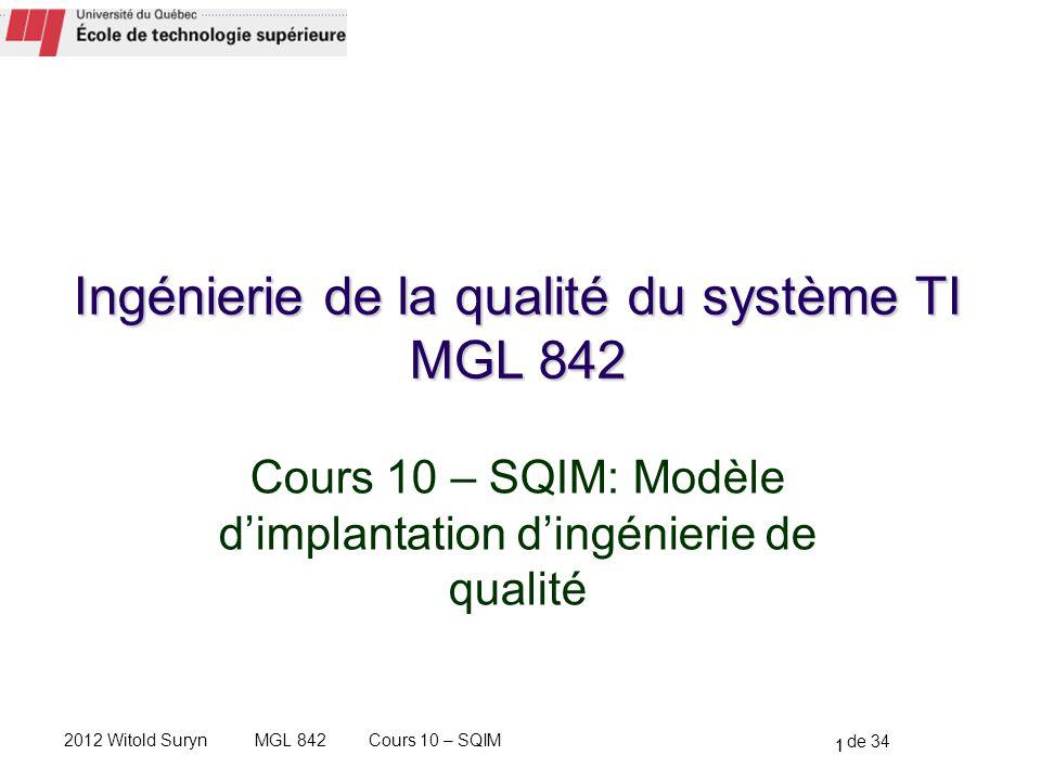 1 de 34 Cours 10 – SQIMMGL 8422012 Witold Suryn Cours 10 – SQIM: Modèle dimplantation dingénierie de qualité 1 Ingénierie de la qualité du système TI MGL 842