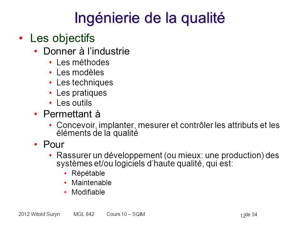 12 de 34 Cours 10 – SQIMMGL 8422012 Witold Suryn Ingénierie de la qualité Les objectifs Donner à lindustrie Les méthodes Les modèles Les techniques Le