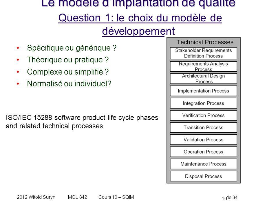 16 de 34 Cours 10 – SQIMMGL 8422012 Witold Suryn Le modèle dimplantation de qualité Le modèle dimplantation de qualité Question 1: le choix du modèle de développement Spécifique ou générique .
