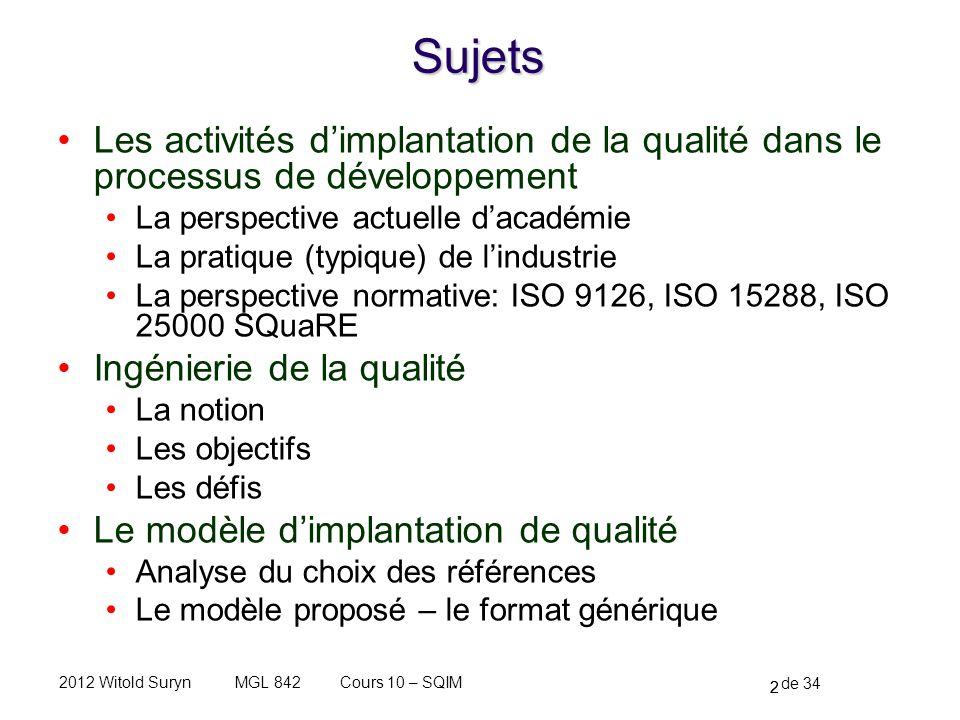 2 de 34 Cours 10 – SQIMMGL 8422012 Witold SurynSujets Les activités dimplantation de la qualité dans le processus de développement La perspective actu