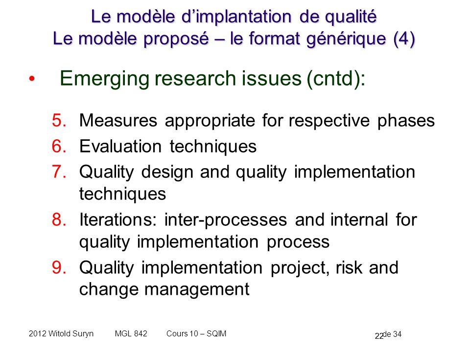 22 de 34 Cours 10 – SQIMMGL 8422012 Witold Suryn Le modèle dimplantation de qualité Le modèle proposé – le format générique (4) Emerging research issu