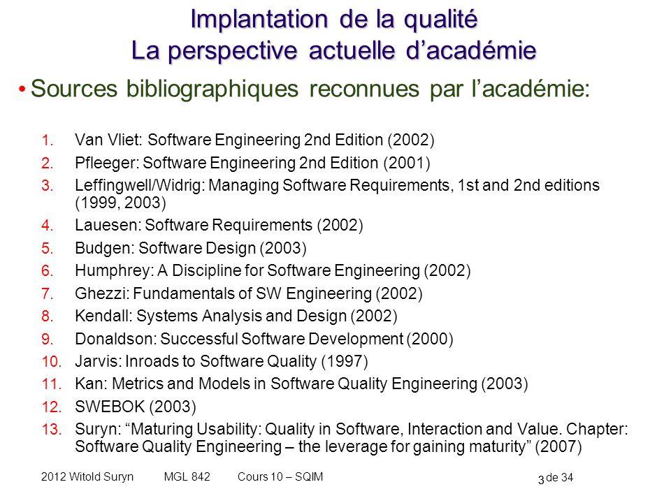 24 de 34 Cours 10 – SQIMMGL 8422012 Witold Suryn Analyse comparative des modèles de développement vs.