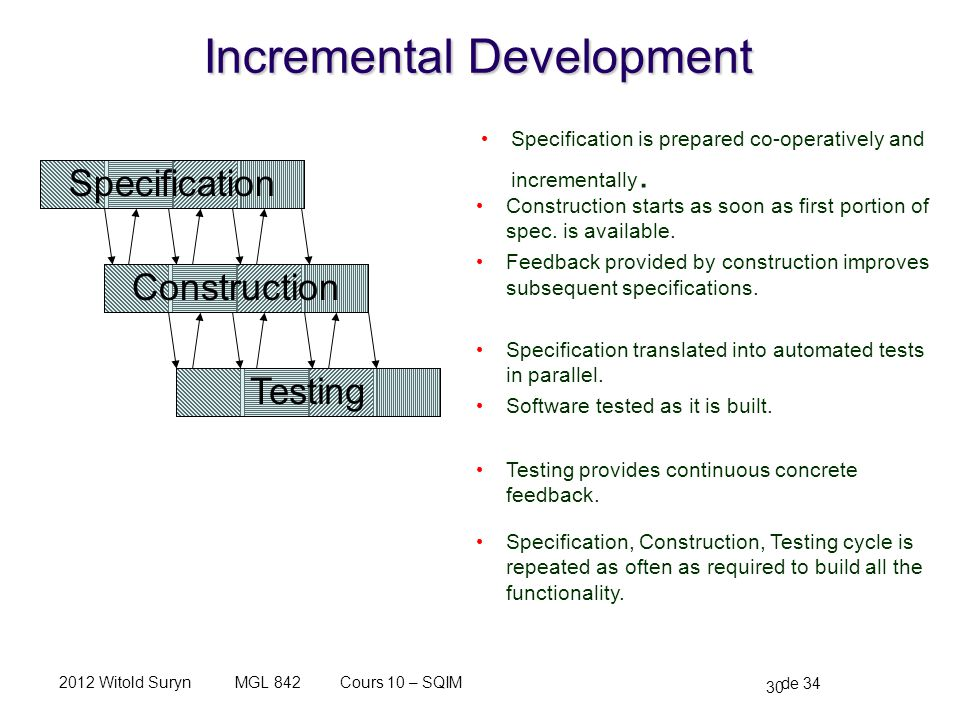 30 de 34 Cours 10 – SQIMMGL 8422012 Witold Suryn Incremental Development Specification is prepared co-operatively and incrementally. Specification Con