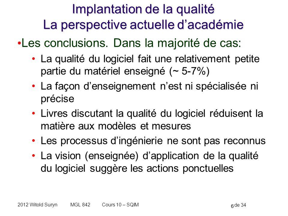 6 de 34 Cours 10 – SQIMMGL 8422012 Witold Suryn Implantation de la qualité La perspective actuelle dacadémie Les conclusions.