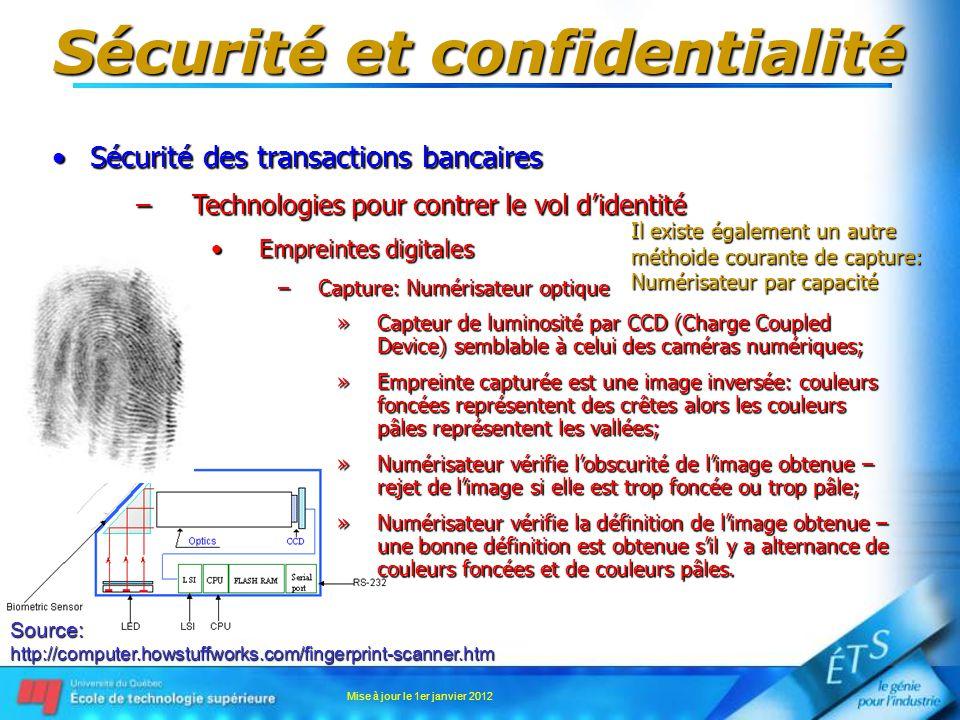 Sécurité et confidentialité Sécurité des transactions bancairesSécurité des transactions bancaires –Technologies pour contrer le vol didentité Emprein