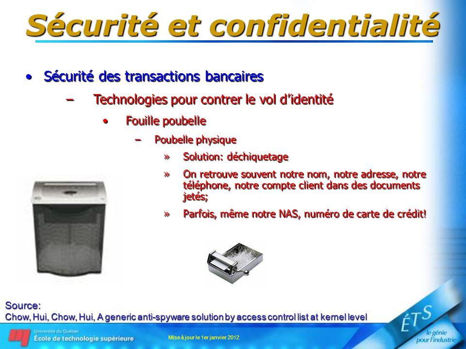 Sécurité et confidentialité Sécurité des transactions bancairesSécurité des transactions bancaires –Technologies pour contrer le vol didentité Fouille
