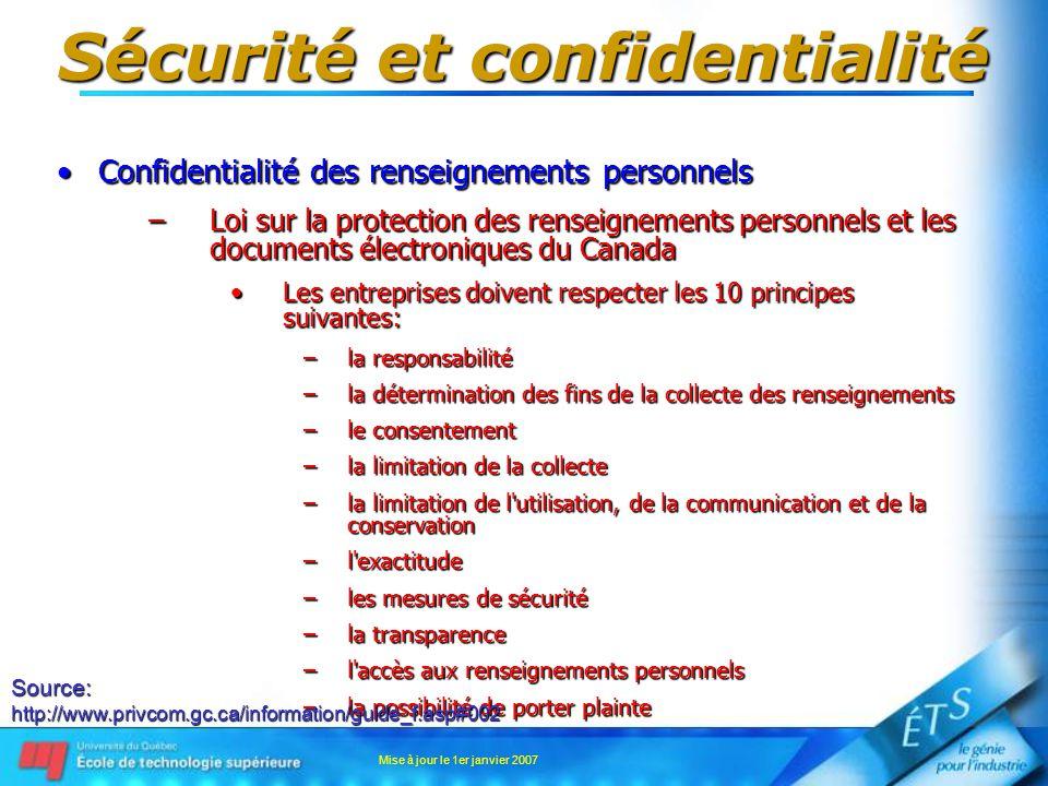 Mise à jour le 1er janvier 2007 Sécurité et confidentialité Confidentialité des renseignements personnelsConfidentialité des renseignements personnels –Loi sur la protection des renseignements personnels et les documents électroniques du Canada Les entreprises doivent respecter les 10 principes suivantes:Les entreprises doivent respecter les 10 principes suivantes: –la responsabilité –la détermination des fins de la collecte des renseignements –le consentement –la limitation de la collecte –la limitation de l utilisation, de la communication et de la conservation –l exactitude –les mesures de sécurité –la transparence –l accès aux renseignements personnels –la possibilité de porter plainte Source:http://www.privcom.gc.ca/information/guide_f.asp#002