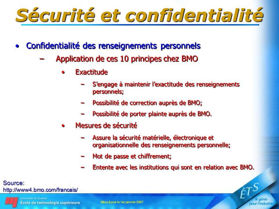 Mise à jour le 1er janvier 2007 Sécurité et confidentialité Confidentialité des renseignements personnelsConfidentialité des renseignements personnels –Application de ces 10 principes chez BMO ExactitudeExactitude –Sengage à maintenir lexactitude des renseignements personnels; –Possibilité de correction auprès de BMO; –Possibilité de porter plainte auprès de BMO.