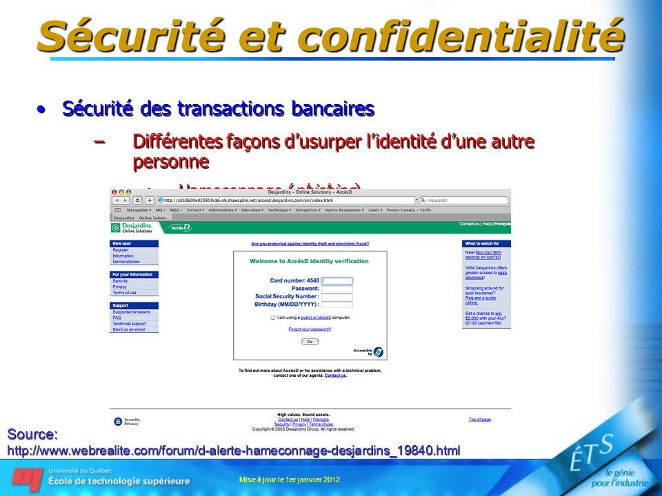 Sécurité et confidentialité Sécurité des transactions bancairesSécurité des transactions bancaires –Différentes façons dusurper lidentité dune autre p