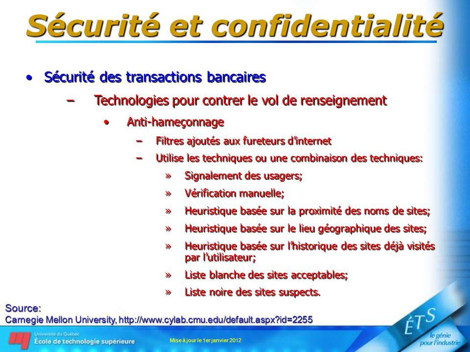 Sécurité et confidentialité Sécurité des transactions bancairesSécurité des transactions bancaires –Technologies pour contrer le vol de renseignement