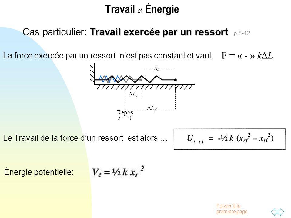 Passer à la première page Travail et Énergie Travail exercée par un ressort Cas particulier: Travail exercée par un ressort p.8-12 L i Repos x = 0 L f x La force exercée par un ressort nest pas constant et vaut: F = « - » k L Le Travail de la force dun ressort est alors … Énergie potentielle: