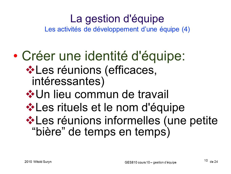 10 GES810 cours 10 – GES810 cours 10 – gestion d'équipe de 24 2010 Witold Suryn Créer une identité d'équipe: Les réunions (efficaces, intéressantes) U