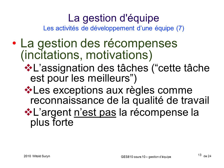 13 GES810 cours 10 – GES810 cours 10 – gestion d'équipe de 24 2010 Witold Suryn La gestion des récompenses (incitations, motivations) Lassignation des