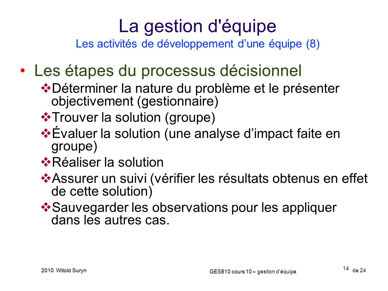 14 GES810 cours 10 – GES810 cours 10 – gestion d'équipe de 24 2010 Witold Suryn Les étapes du processus décisionnel Déterminer la nature du problème e