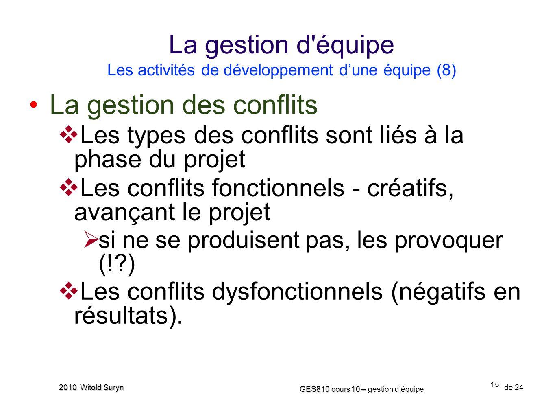 15 GES810 cours 10 – GES810 cours 10 – gestion d'équipe de 24 2010 Witold Suryn La gestion des conflits Les types des conflits sont liés à la phase du