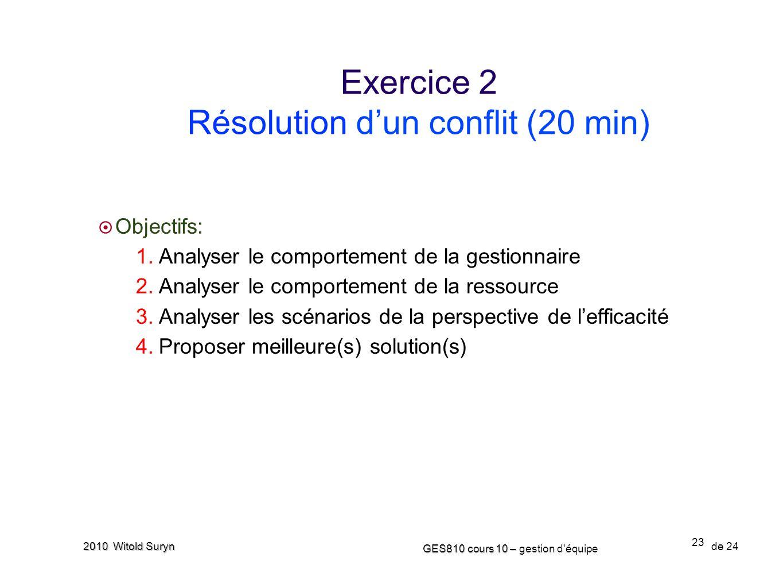 23 GES810 cours 10 – GES810 cours 10 – gestion d'équipe de 24 2010 Witold Suryn Objectifs: 1. Analyser le comportement de la gestionnaire 2. Analyser