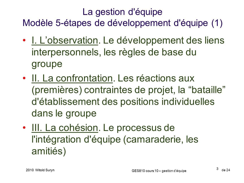 3 GES810 cours 10 – GES810 cours 10 – gestion d'équipe de 24 2010 Witold Suryn I. Lobservation. Le développement des liens interpersonnels, les règles