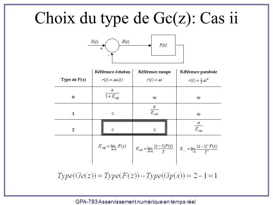 GPA-783 Asservissement numérique en temps réel Choix du type de Gc(z): Cas ii