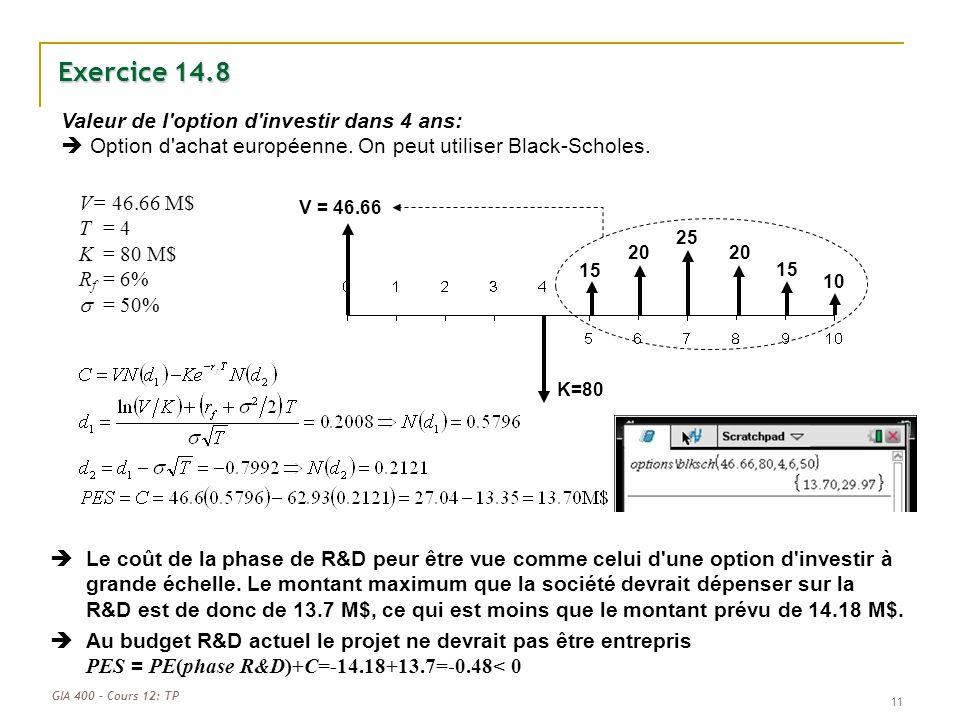 GIA 400 – Cours 12: TP 11 Valeur de l'option d'investir dans 4 ans: Option d'achat européenne. On peut utiliser Black-Scholes. Exercice 14.8 K=80 15 2