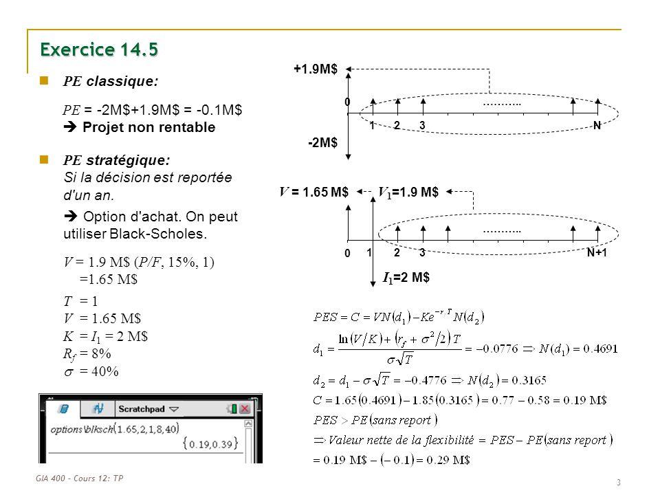 GIA 400 – Cours 12: TP 3 Exercice 14.5 PE classique: 1 0 23N ……….. -2M$ +1.9M$ PE = -2M$+1.9M$ = -0.1M$ Projet non rentable PE stratégique: Si la déci