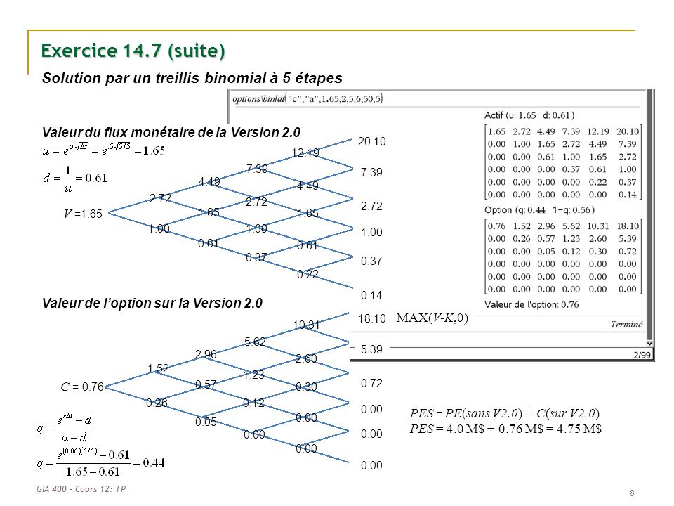 GIA 400 – Cours 12: TP Exercice 14.7 (suite) 8 0.00 V =1.65 2.72 4.49 7.39 12.19 20.10 7.39 2.72 1.00 0.37 0.14 4.49 1.65 0.61 0.22 2.72 1.00 0.37 1.6