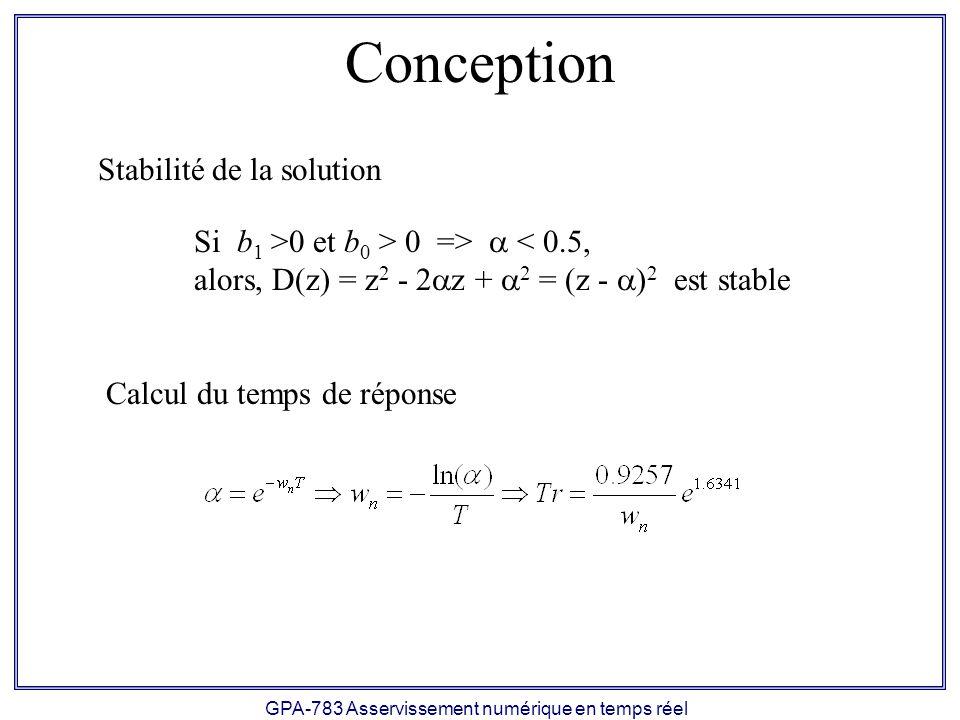 GPA-783 Asservissement numérique en temps réel Conception Si b 1 >0 et b 0 > 0 => < 0.5, alors, D(z) = z 2 - 2 z + 2 = (z - ) 2 est stable Stabilité d
