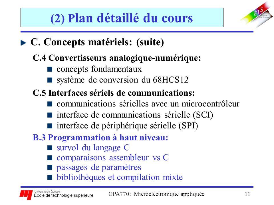 Université du Québec École de technologie supérieure GPA770: Microélectronique appliquée11 (2) P lan détaillé du cours C. Concepts matériels: (suite)
