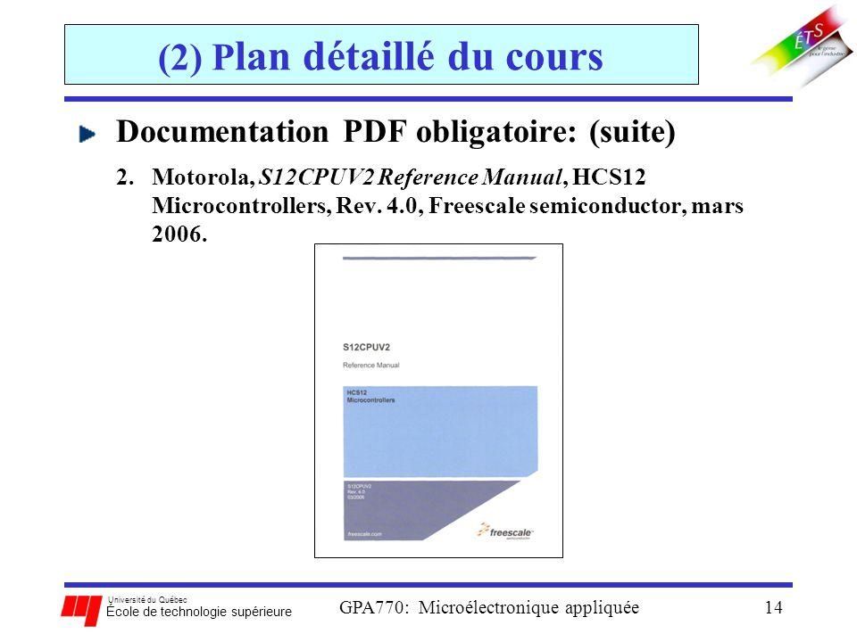 Université du Québec École de technologie supérieure GPA770: Microélectronique appliquée14 (2) P lan détaillé du cours Documentation PDF obligatoire: