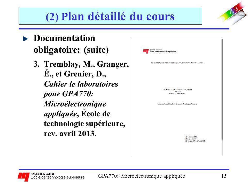 Université du Québec École de technologie supérieure GPA770: Microélectronique appliquée15 (2) P lan détaillé du cours Documentation obligatoire: (sui