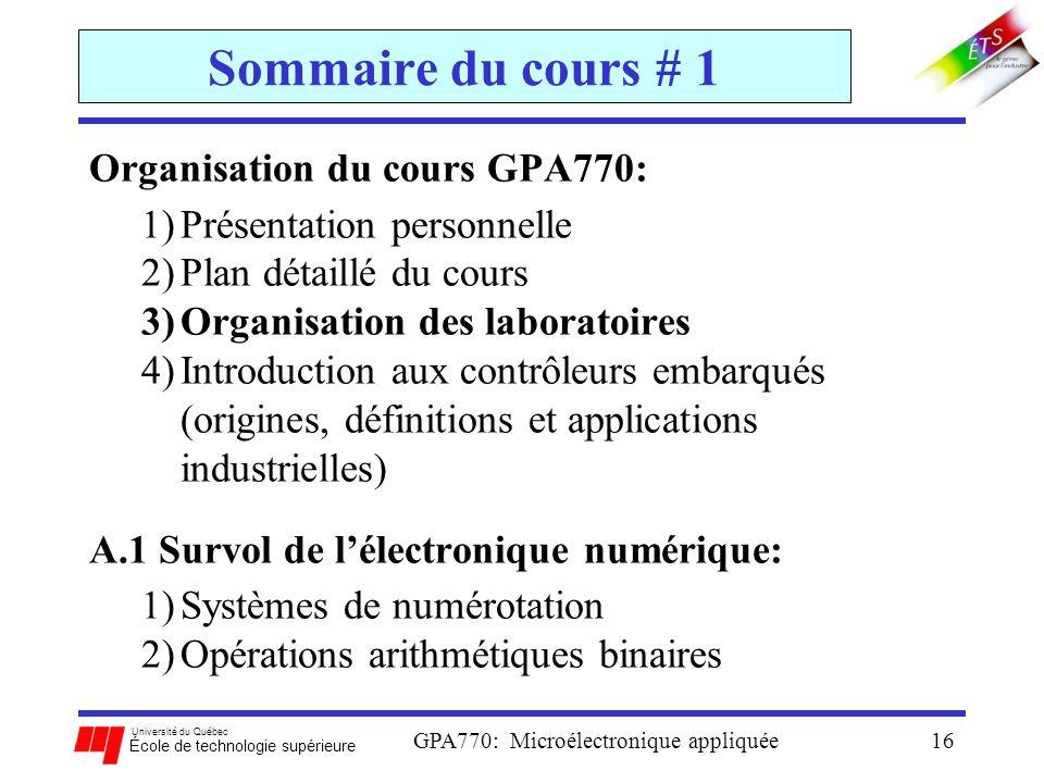 Université du Québec École de technologie supérieure GPA770: Microélectronique appliquée16 Sommaire du cours # 1 Organisation du cours GPA770: 1)Prése
