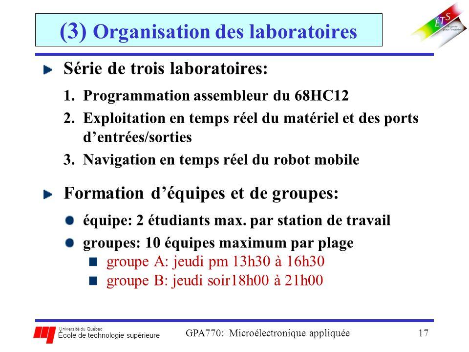 Université du Québec École de technologie supérieure GPA770: Microélectronique appliquée17 (3) Organisation des laboratoires Série de trois laboratoir