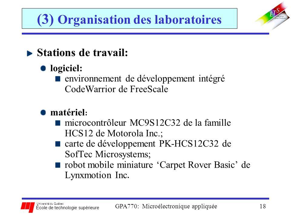 Université du Québec École de technologie supérieure GPA770: Microélectronique appliquée18 (3) Organisation des laboratoires Stations de travail: logi