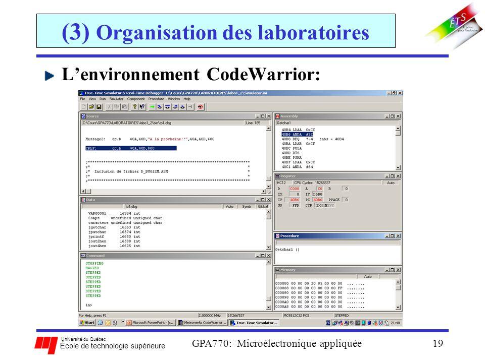 Université du Québec École de technologie supérieure GPA770: Microélectronique appliquée19 (3) Organisation des laboratoires Lenvironnement CodeWarrio