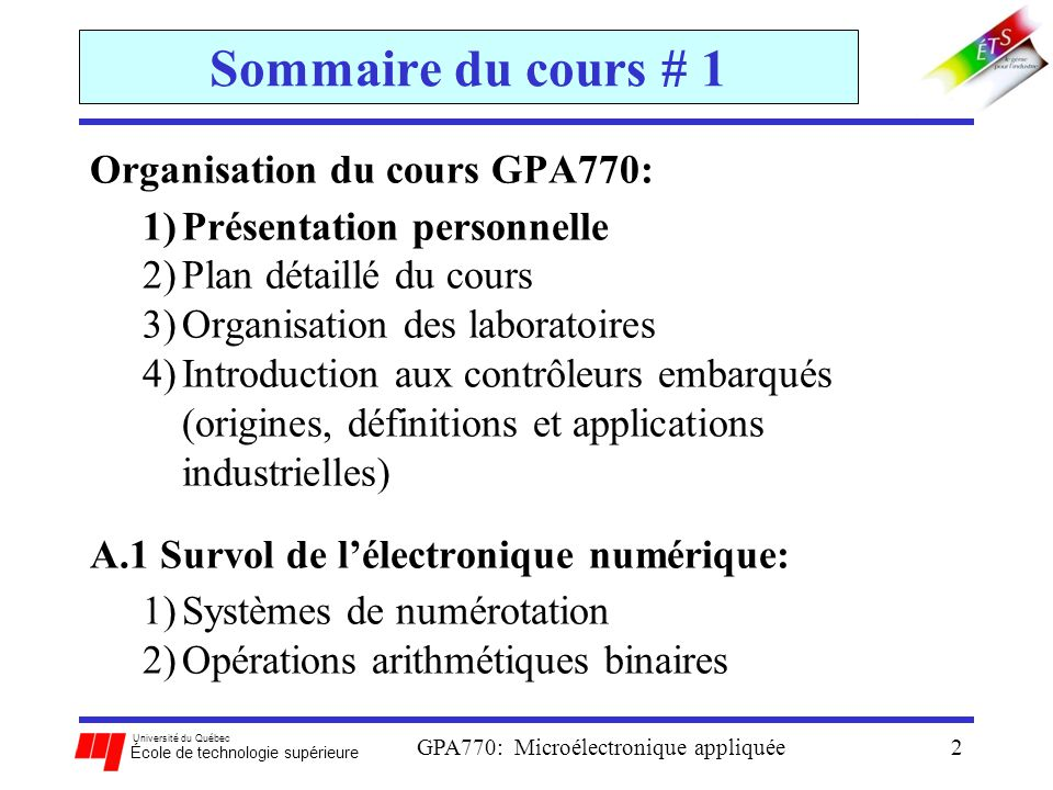 Université du Québec École de technologie supérieure GPA770: Microélectronique appliquée2 Sommaire du cours # 1 Organisation du cours GPA770: 1)Présen