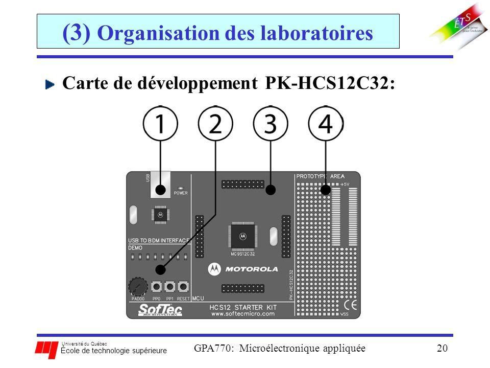 Université du Québec École de technologie supérieure GPA770: Microélectronique appliquée20 (3) Organisation des laboratoires Carte de développement PK