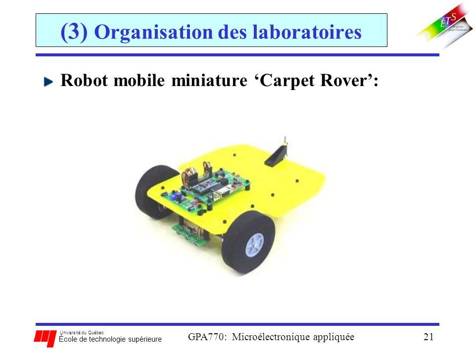 Université du Québec École de technologie supérieure GPA770: Microélectronique appliquée21 (3) Organisation des laboratoires Robot mobile miniature Ca