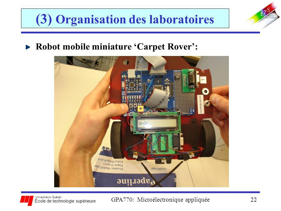 Université du Québec École de technologie supérieure GPA770: Microélectronique appliquée22 (3) Organisation des laboratoires Robot mobile miniature Ca