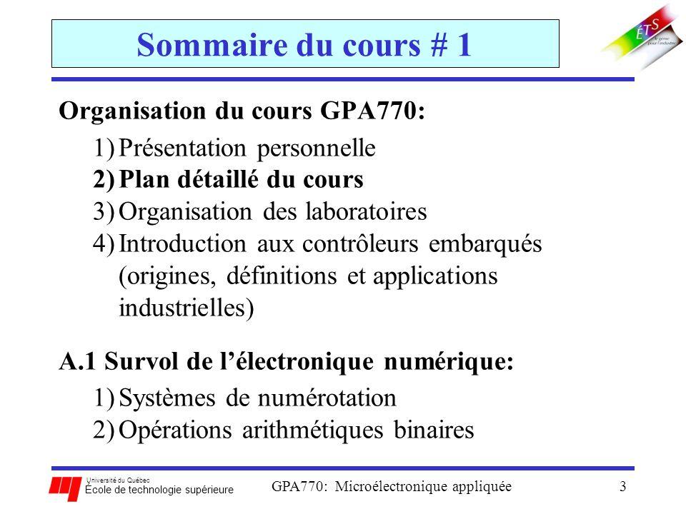 Université du Québec École de technologie supérieure GPA770: Microélectronique appliquée14 (2) P lan détaillé du cours Documentation PDF obligatoire: (suite) 2.Motorola, S12CPUV2 Reference Manual, HCS12 Microcontrollers, Rev.