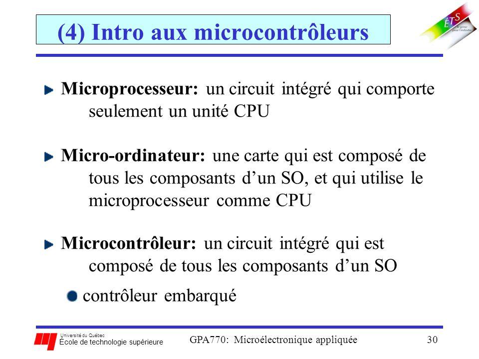 Université du Québec École de technologie supérieure GPA770: Microélectronique appliquée30 (4) Intro aux microcontrôleurs Microprocesseur: un circuit