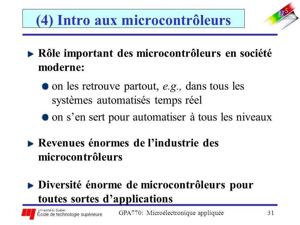 Université du Québec École de technologie supérieure GPA770: Microélectronique appliquée31 (4) Intro aux microcontrôleurs Rôle important des microcont