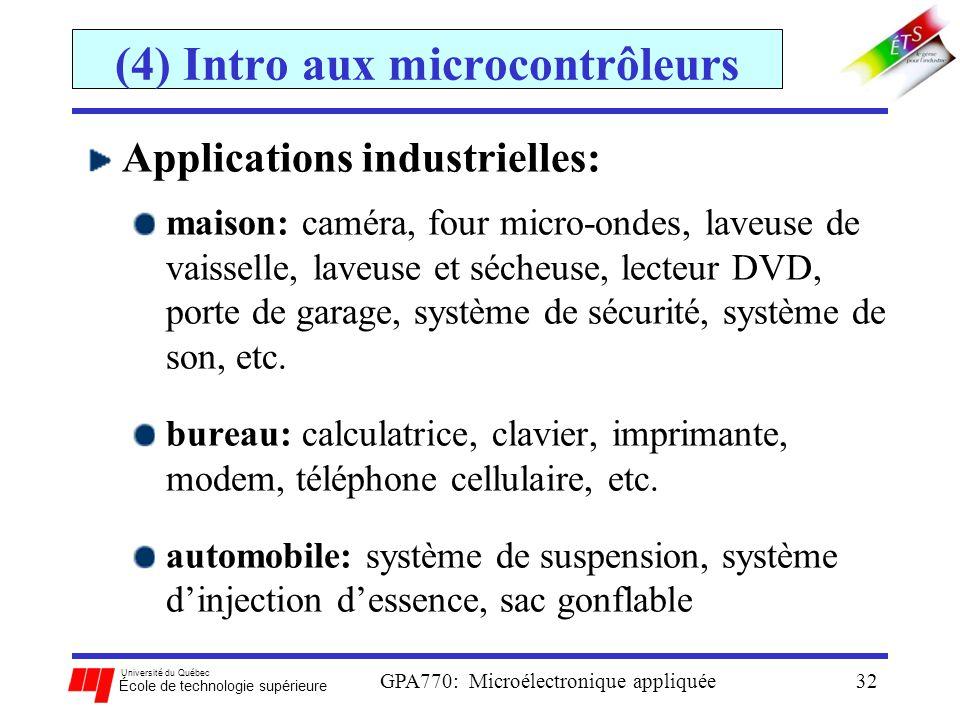 Université du Québec École de technologie supérieure GPA770: Microélectronique appliquée32 (4) Intro aux microcontrôleurs Applications industrielles: