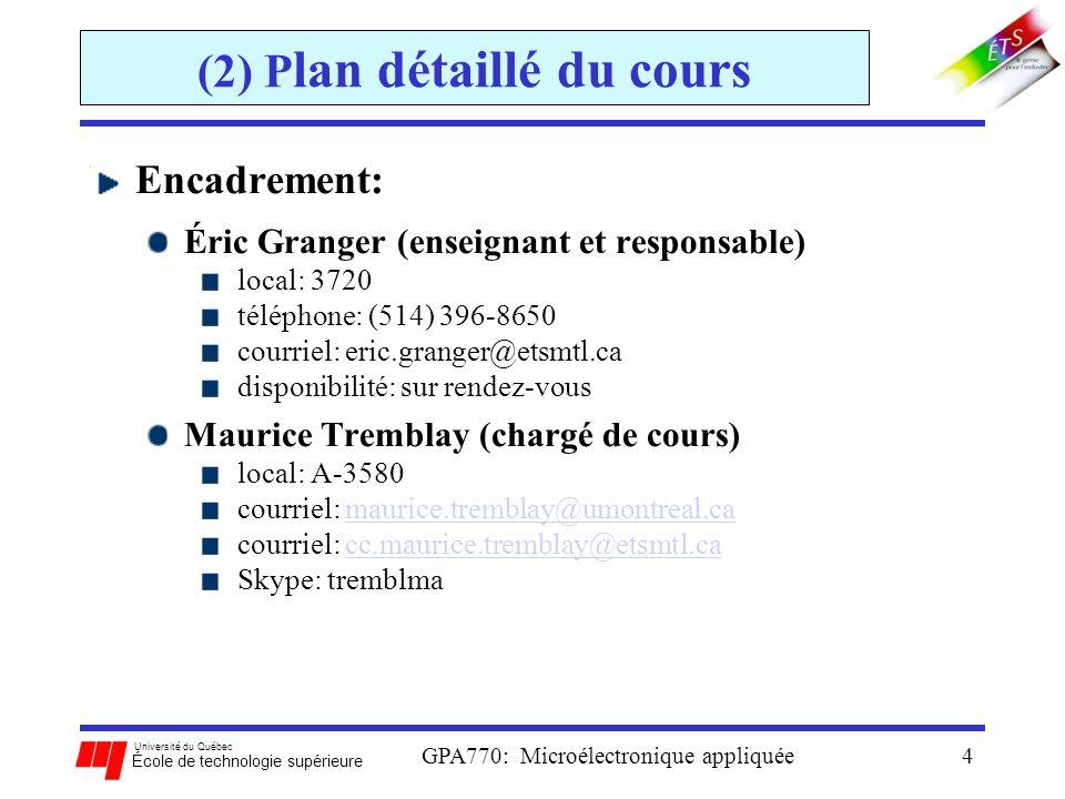 Université du Québec École de technologie supérieure GPA770: Microélectronique appliquée4 (2) P lan détaillé du cours Encadrement: Éric Granger (ensei
