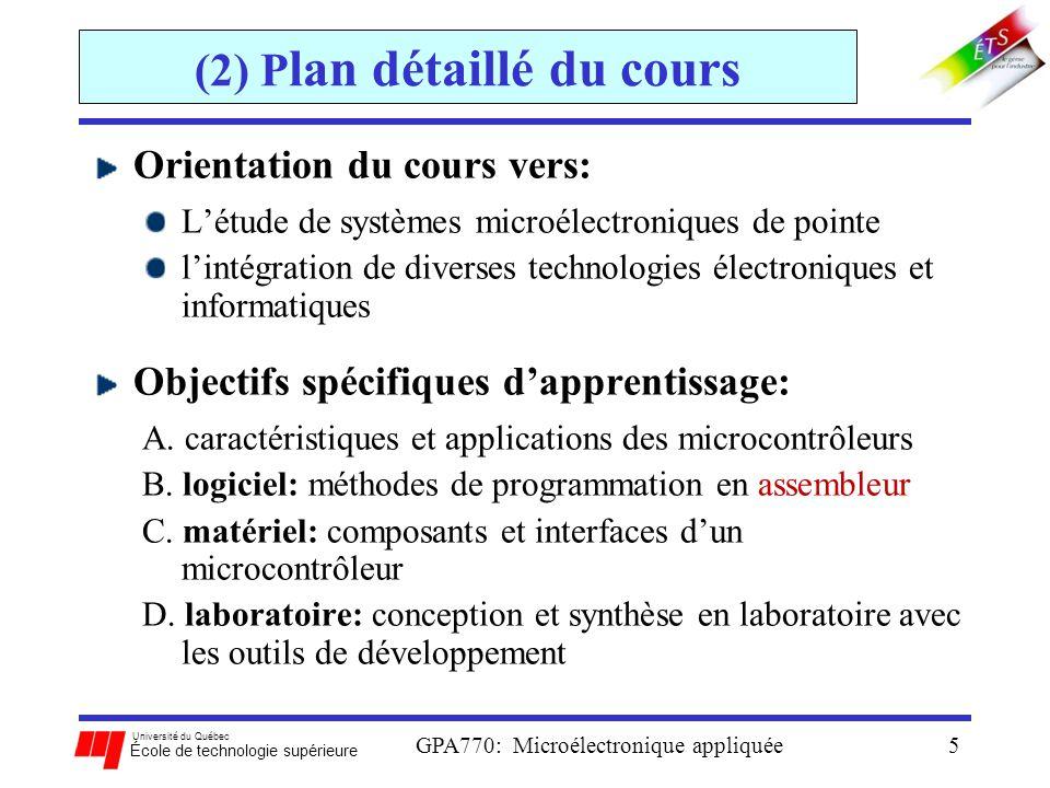 Université du Québec École de technologie supérieure GPA770: Microélectronique appliquée5 (2) P lan détaillé du cours Orientation du cours vers: Létud