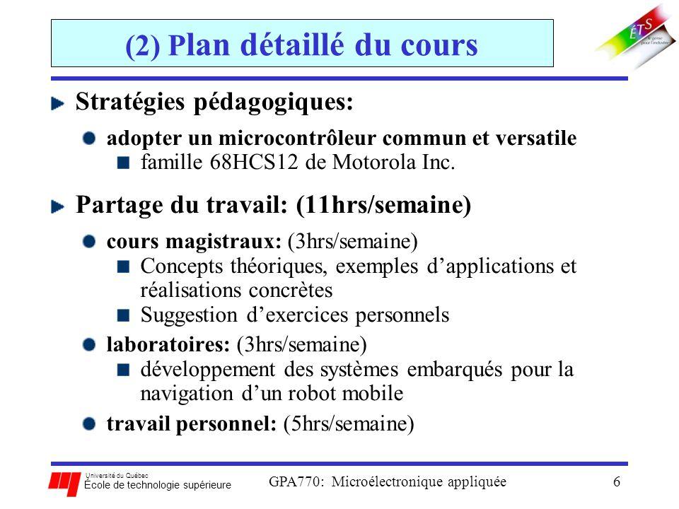 Université du Québec École de technologie supérieure GPA770: Microélectronique appliquée6 (2) P lan détaillé du cours Stratégies pédagogiques: adopter