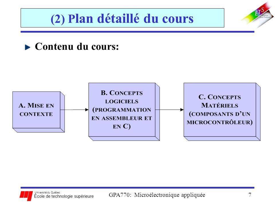 Université du Québec École de technologie supérieure GPA770: Microélectronique appliquée7 (2) P lan détaillé du cours Contenu du cours: